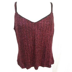 Tops - Fushia and Black Sparkly Tank Top